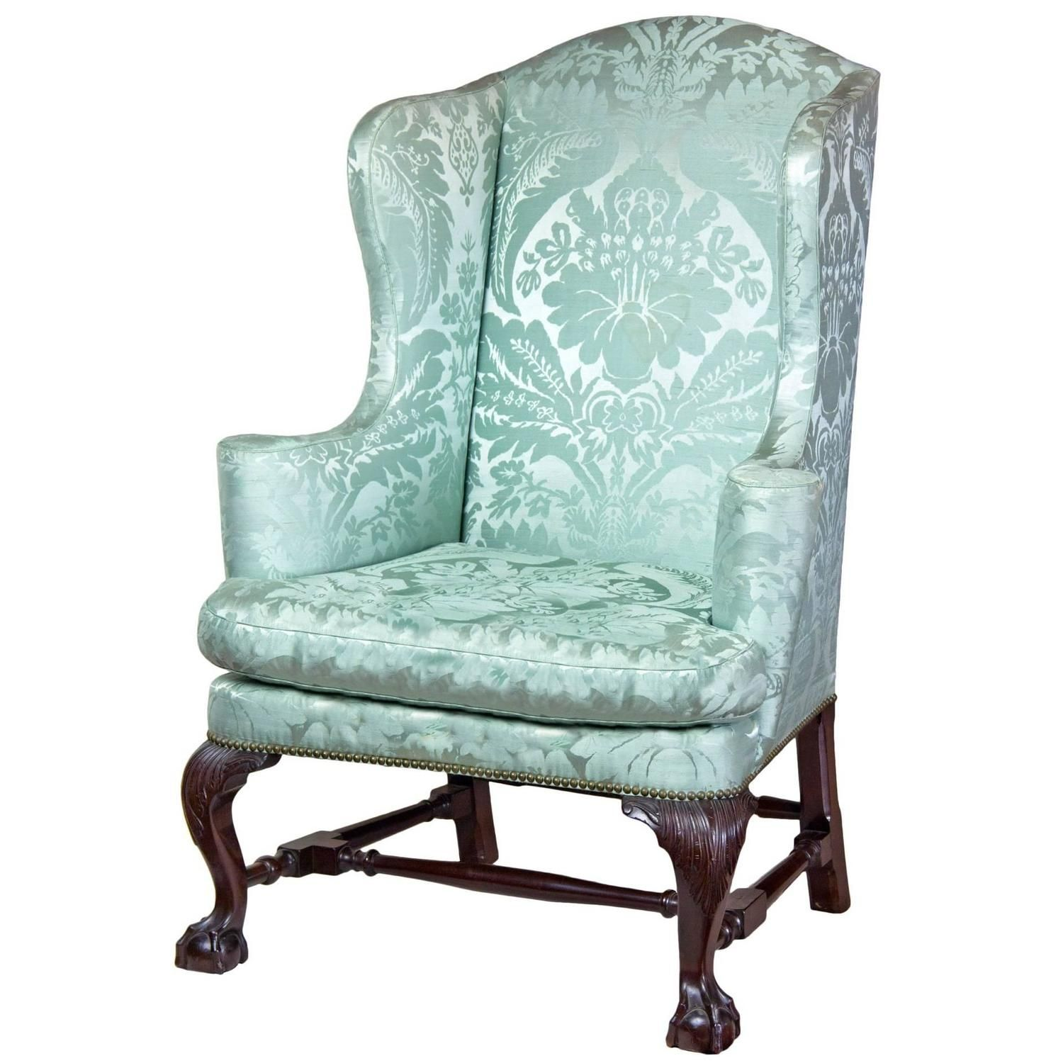 Upholstered Wing Chair w/ Carved Knees Upholstered arm