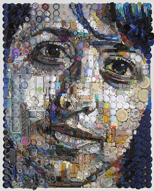 Incredibly detailed portraits by zac freeman constructed from thousands of tiny found objects