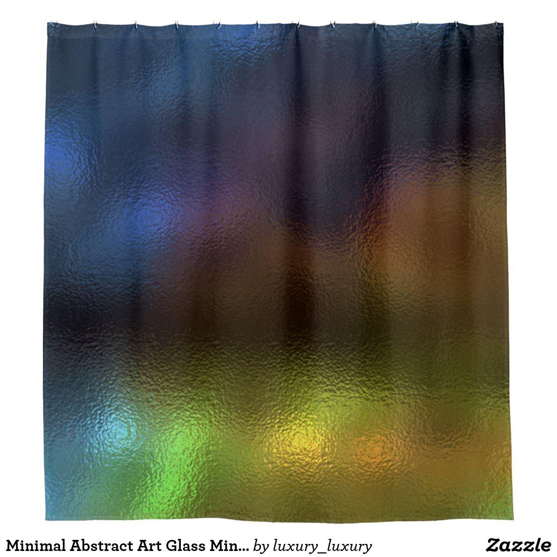 Minimal Abstract Art Glass Mint Navy Purple Mustar Shower Curtain