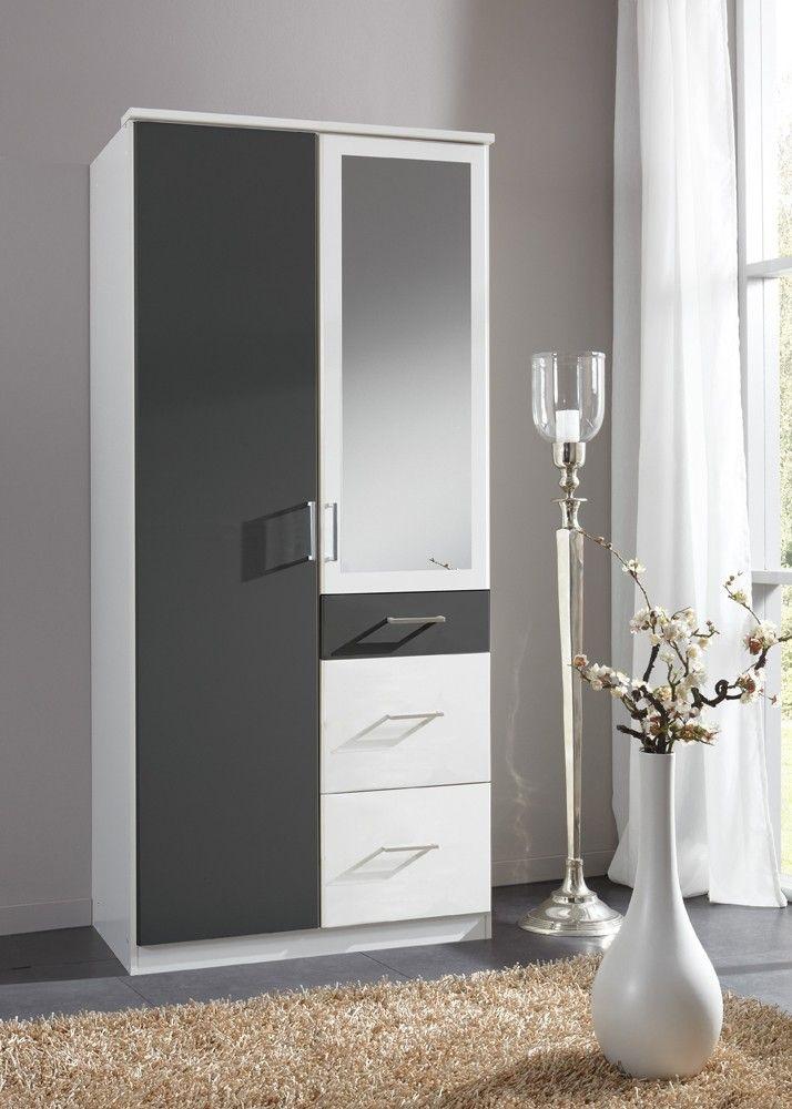 Kleiderschrank Click 90,0 cm Schlafzimmerschrank Weiß Anthrazit