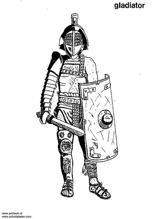 Coloring Page Gladiator Img 3207 Avec Images Empire Romain