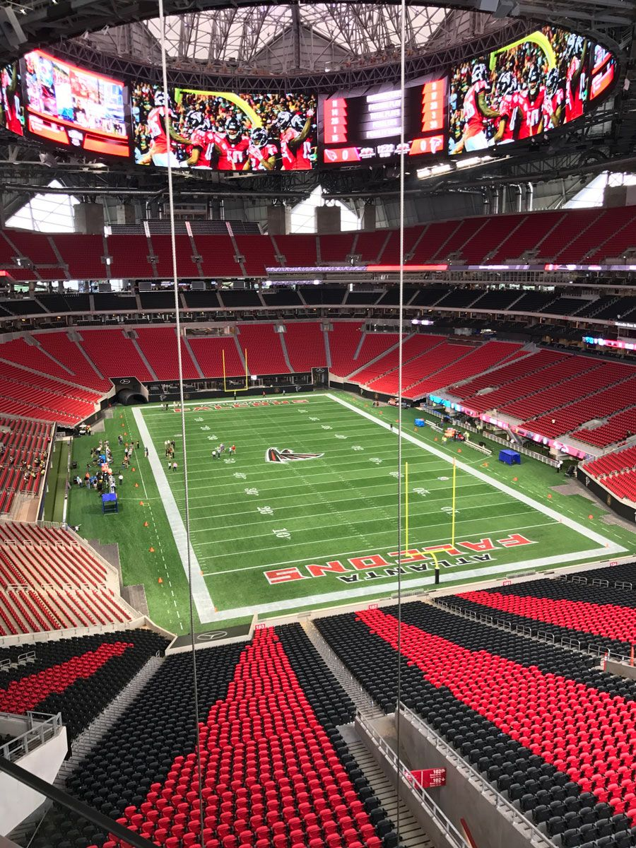 Days Away From Opening Here S What Mercedes Benz Stadium Looks Like Now Nfl Football Stadium Nfl Stadiums Stadium