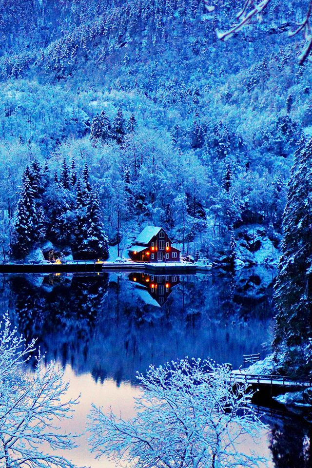Winter Evening Wallpaper Fond ecran hiver, Paysage hiver