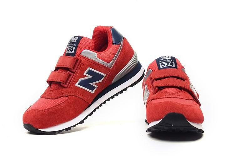 brand new f0d71 90b88 Outlet Online New Balance KV574PNY Running Kids, Suede Mesh, Red Navy  Silver Online