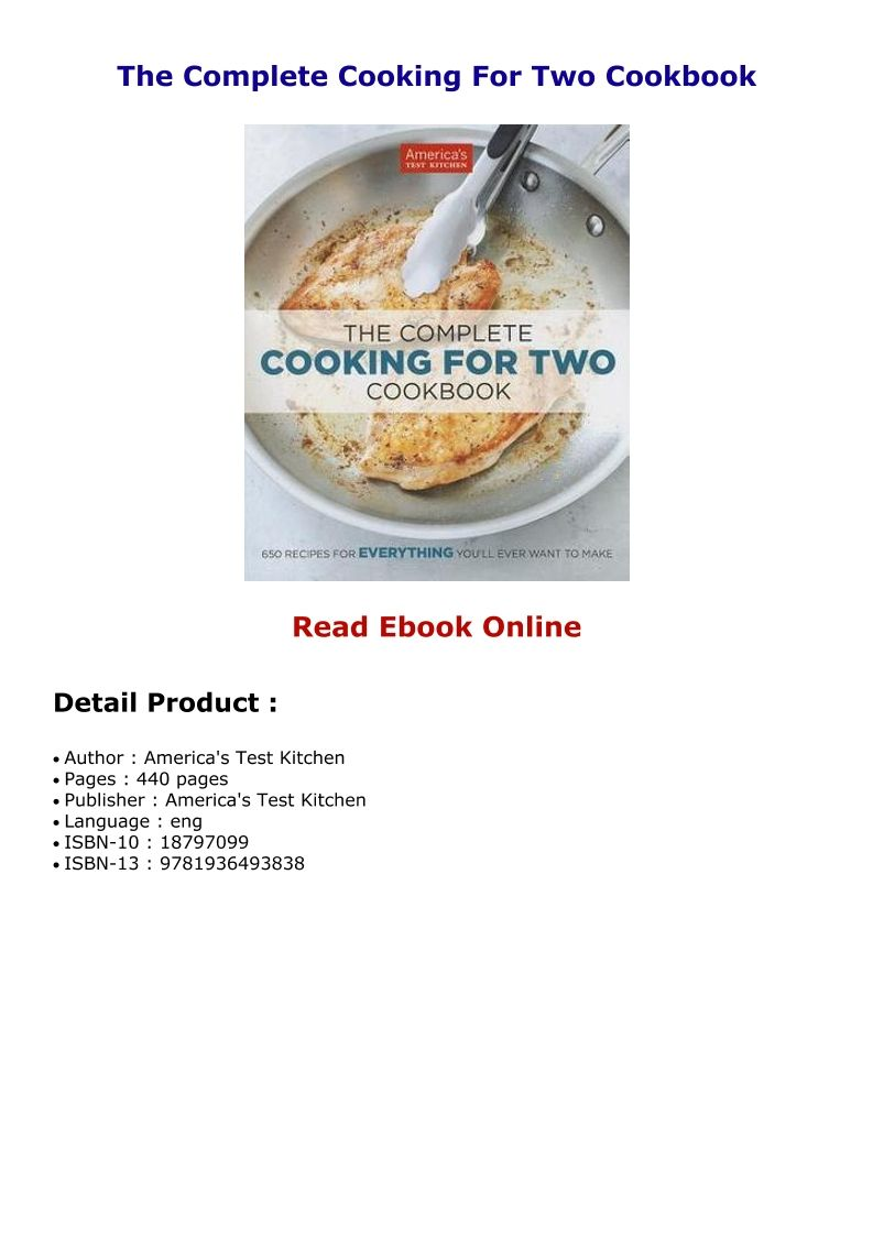 The Complete Cooking For Two Cookbook With Images Fool Proof Recipes Cooking For Two Cooking