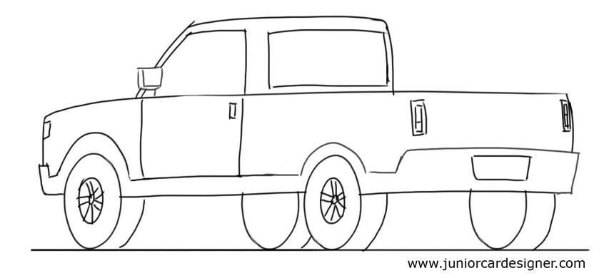 Car Drawing For KidsTutorial: Pick Up Truck 3/4 Rear View