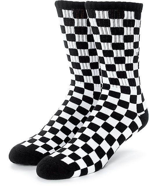 Vans Black White Checker Crew Socks In 2019