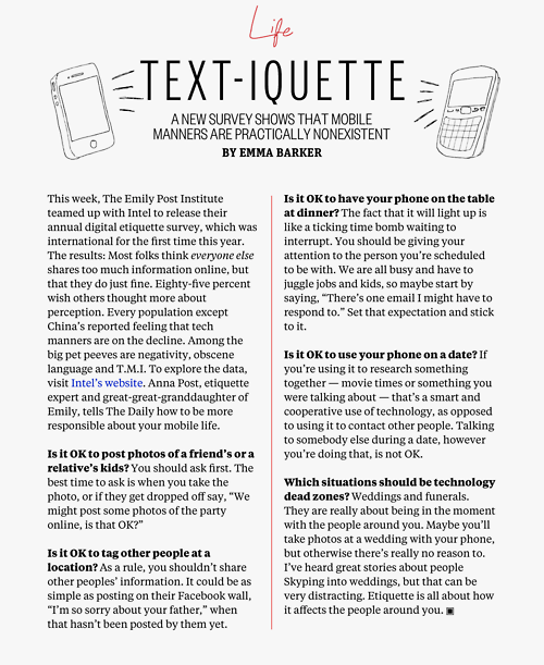 Miss manners texting etiquette for dating