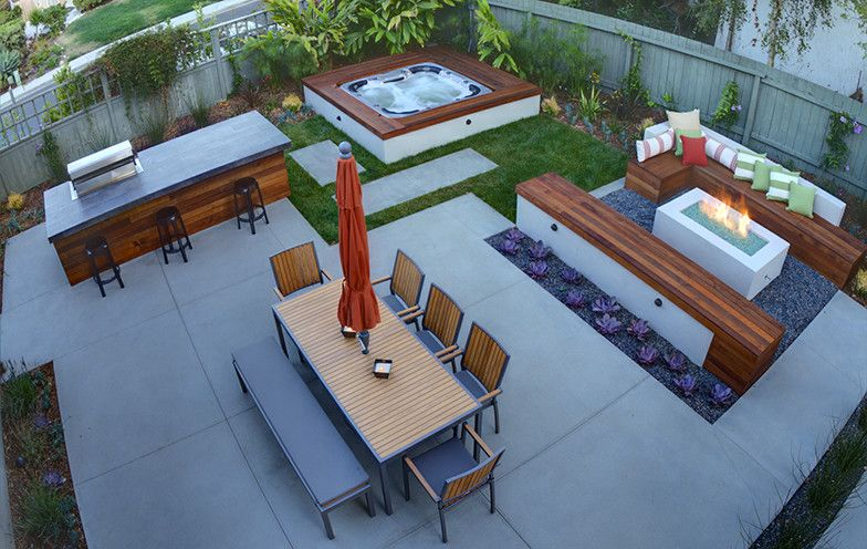 Modern And Cozy Outdoor Space Contemporary Landscape San Diego By Eco Minded Solutions Hot Tub Backyard Modern Outdoor Kitchen Patio Design