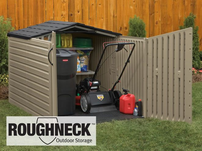 Rubbermaid Roughneck slide lid storage building has a low profile designed to meet standard fence he. & Rubbermaid Roughneck slide lid storage building has a low profile ...