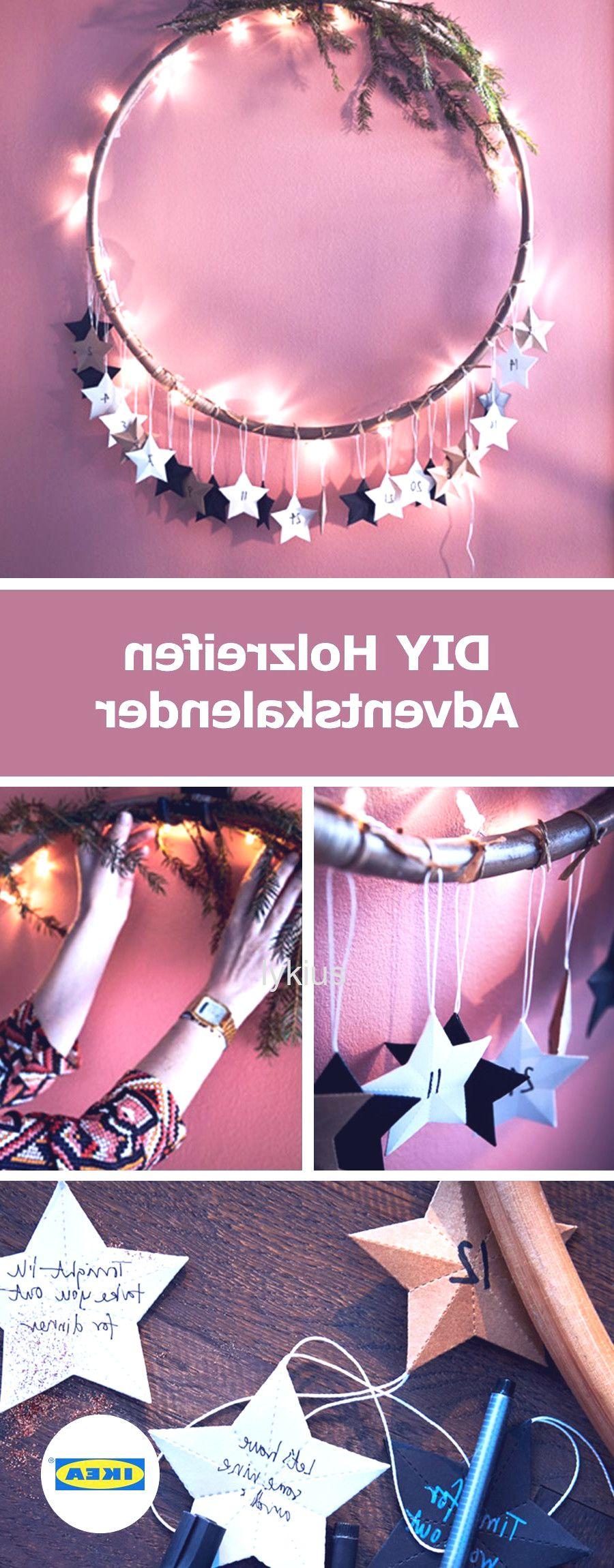 weihnachten im glas #weihnachten #2020 IKEA Deutschland | Lass den Adventstag fr deine Liebsten mit einem netten Kompliment oder der Ankndigung einer kleinen berraschung beginnen die du auf Papiersterne schreibst. Den Hula-Hoop haben wir mit Zweigen und einer Lichterkette dekoriert und Sterne fr jeden Tag daran gehngt. #Adventskalender #DIY #Ideen #Weihnachten #ikeadeutschlandweihnachten