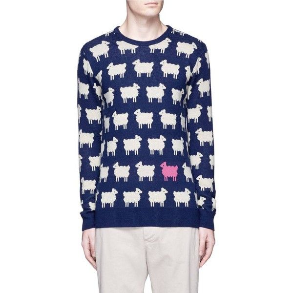 Scotch Soda Sheep intarsia wool blend sweater ($205) ❤ liked on Polyvore featuring men's fashion, men's clothing, men's sweaters, mens ribbed sweater, mens crewneck sweaters and mens crew neck sweaters