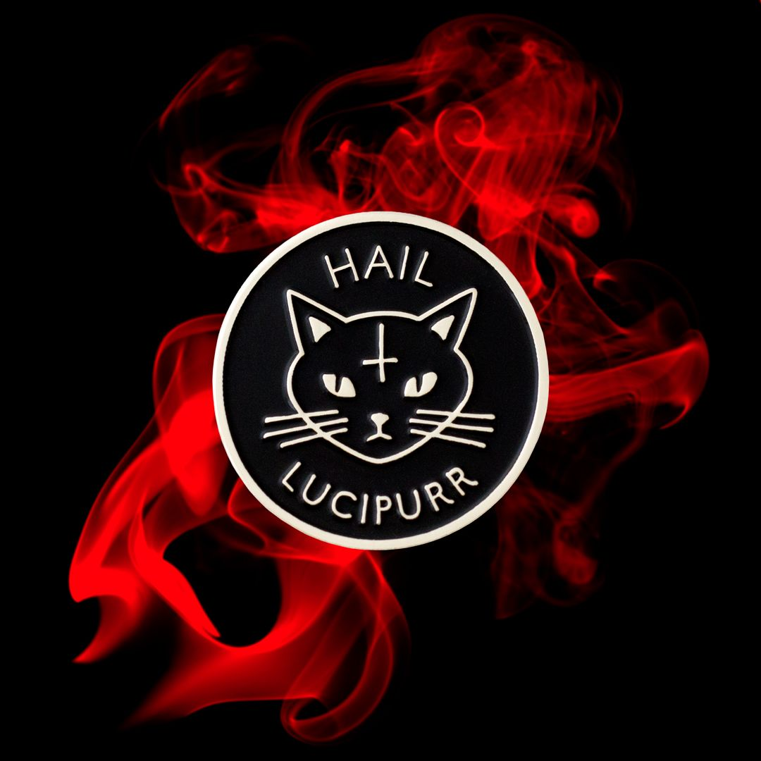 Hail Lucipurr Enamel Pin For Cat Worshippers Metal Shirts Soft Grunge Death Metal Shirt