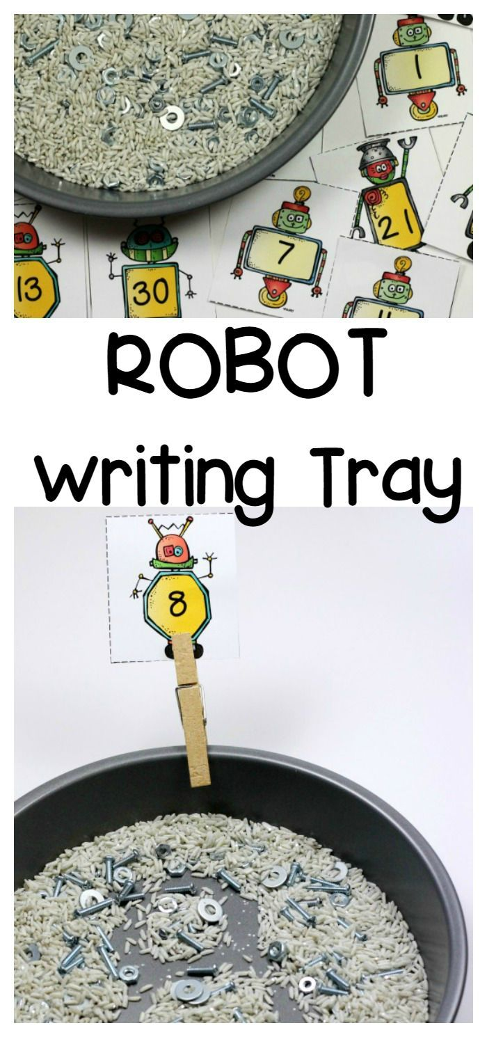 Robot Sensory Writing Tray With Free Printable Number Cards Fun A Day Robots Preschool Robot Activity Math Activities Preschool [ 1490 x 700 Pixel ]