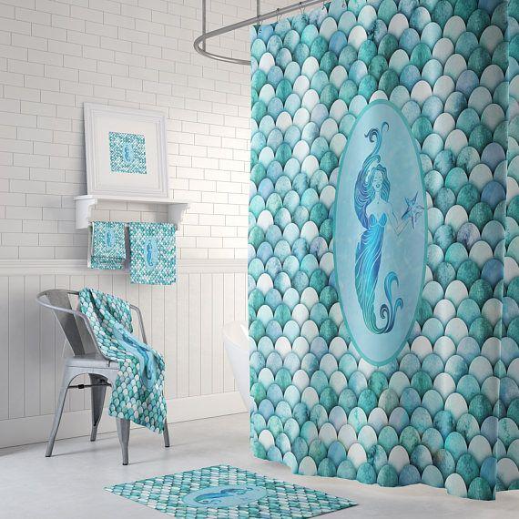 Mermaid Scales Shower Curtain Bath Towels Bath Mat Mermaid