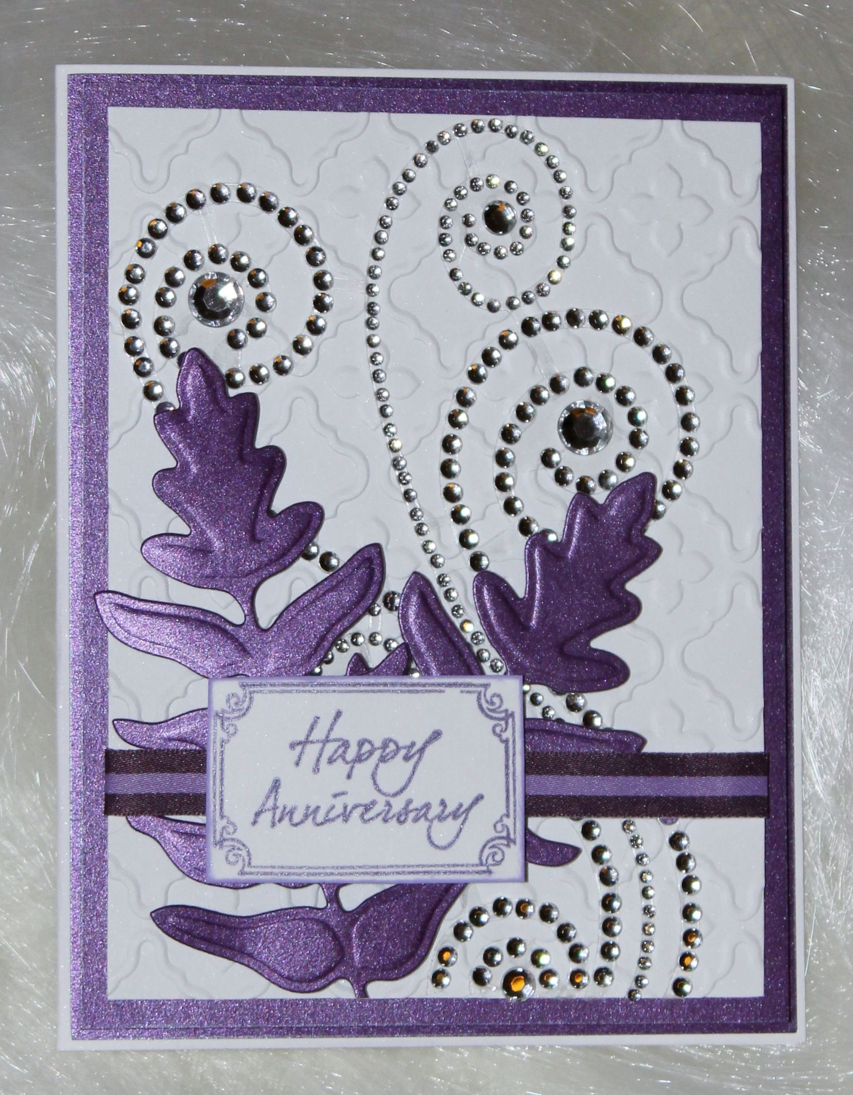 Embossed anniversary card with rhinestone swirls anniversaries joe morgan created this special 60th anniversary card made with want2scrap silver swirls maxxi girl rhinestones kristyandbryce Choice Image