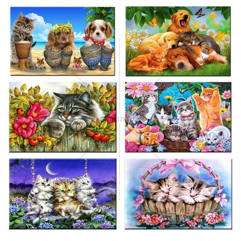 5D DIY Diamond Painting Embroidery Cross Stitch Kits Craft Decor lot Cat&Dog