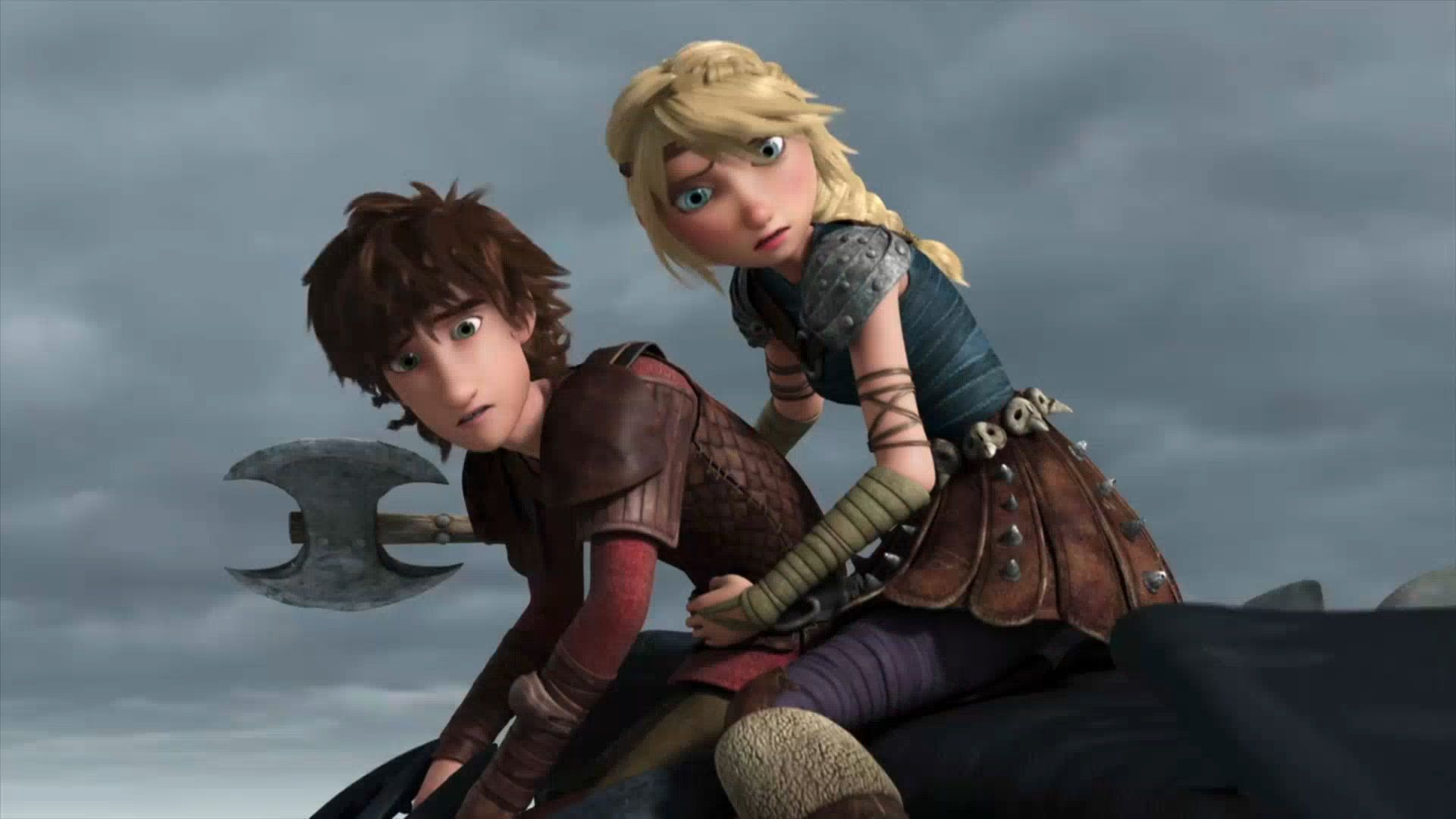 Hiccup and Astrid riding on Toothless's back together as Astrid is holding Hiccup in her arms from Dreamworks Dragons Race to the Edge