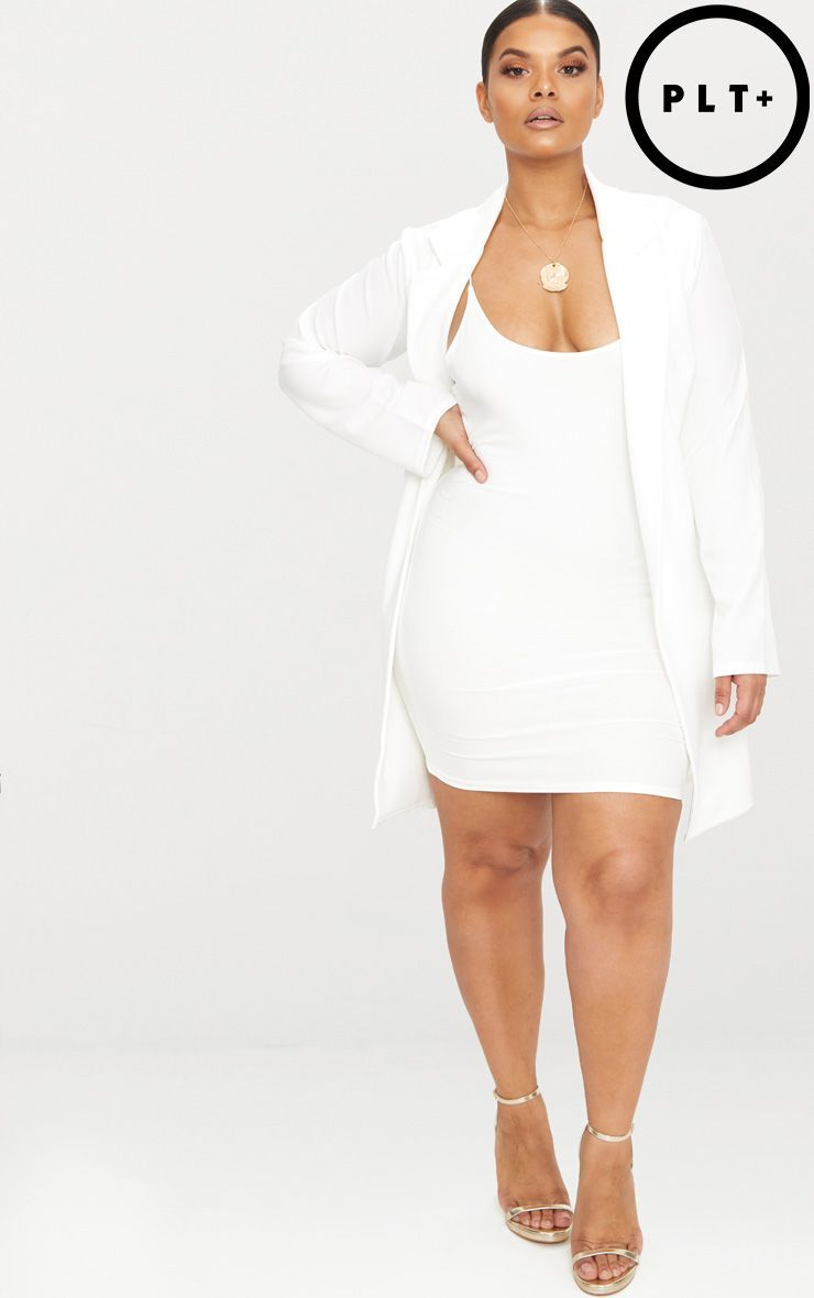 86328186b122 Plus White Longline Blazer. Shop the range of plus size today at  PrettyLittleThing. Express delivery available. Order now