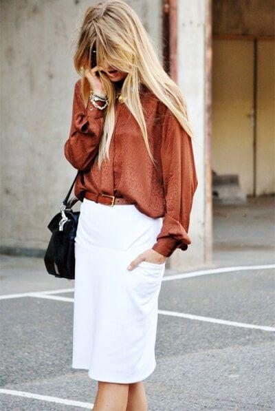 Юбка-карандаш: лучшие фото | Шёлковые блузки, Мода, Летний ...