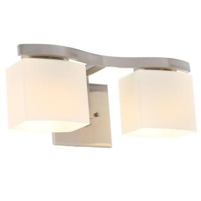 Hampton Bay 2Light Brushed Nickel Bath Light  Bath Light Best Home Depot Bathroom Light Fixtures Decorating Design