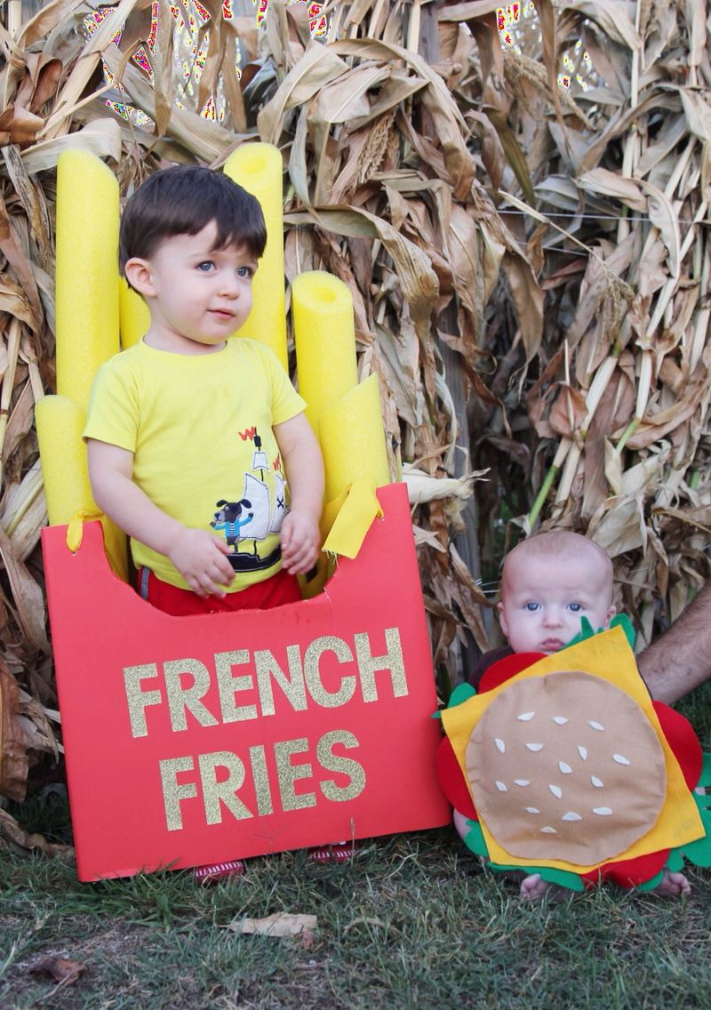 Sibling brother halloween costumes! Burger + French fries. Home made in less than an hour. Old diaper box for the French fry + yellow pool noodles.  sc 1 st  Pinterest & Sibling brother halloween costumes! Burger + French fries. Home ...