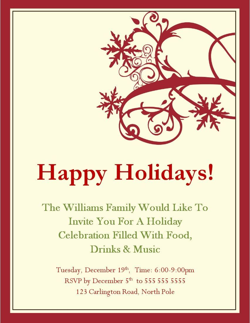 Christmas Party Invitations Templates Microsoft  Holida