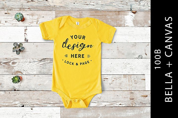 Yellow Bella Canvas 100B Baby One Piece Romper Suit Flat