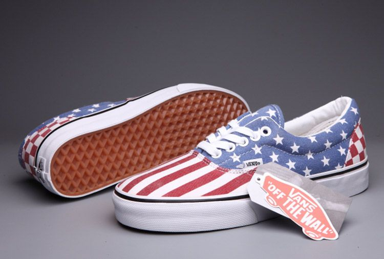 1bb676e00d41 Vans Era American Flag Stars Stripes Red Blue Era Skate Shoes For Sale  Vans