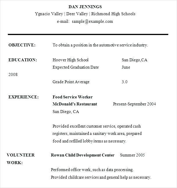 Beautiful High Schooler Resume Template Ideas