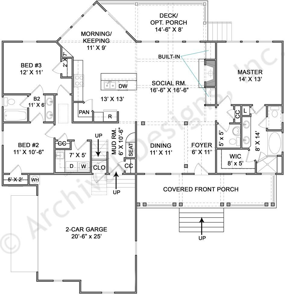 Berland Cottage House Plan 1727 Sq Ft Would Extend Keeping Room Square With Bedroom