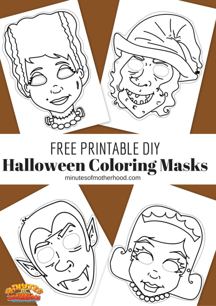 free printable diy coloring halloween masks set of four here they are the masks i - Coloring Halloween Masks