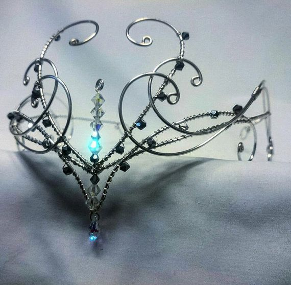 Silver swarovski elements wedding circlet tiara head wear crown medieval elven diadem #crowntiara