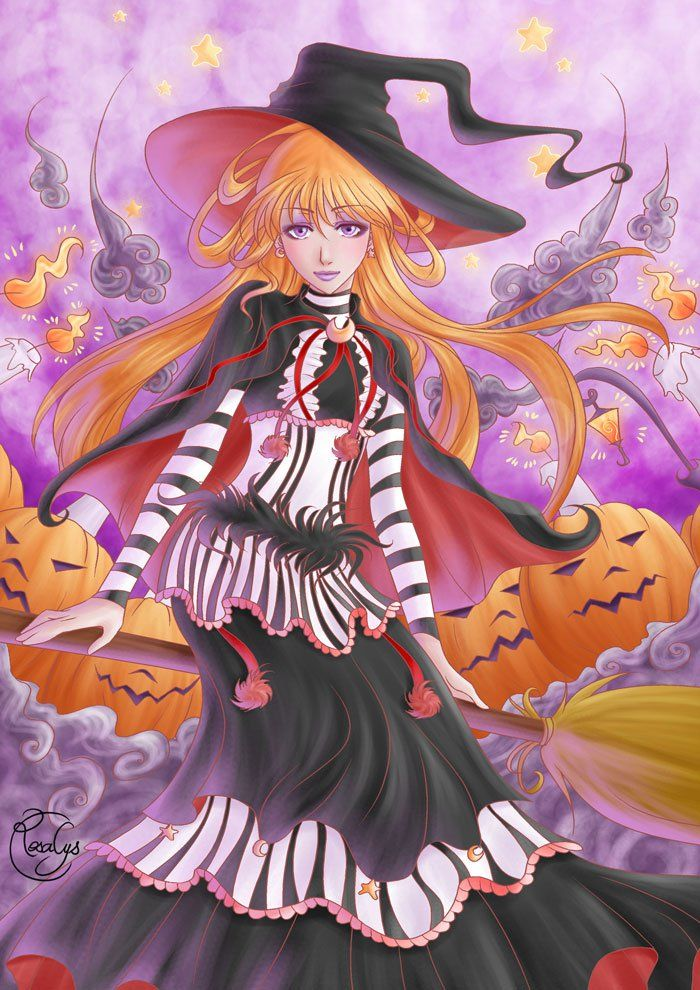 Halloween - Illustration from #rosalys at www.rosalys.net - work licensed under Creative Commons Attribution-Noncommercial - #illustration #originalart #digitalart #digitalpainting #digitaldrawing #CG #halloween #witch #pumpkin