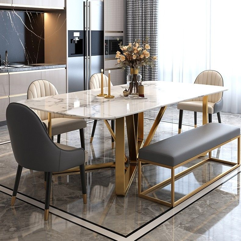 Modern Rectangle 63 In 2021 Dining Table Marble Dining Table Gold Modern Dining Room Set