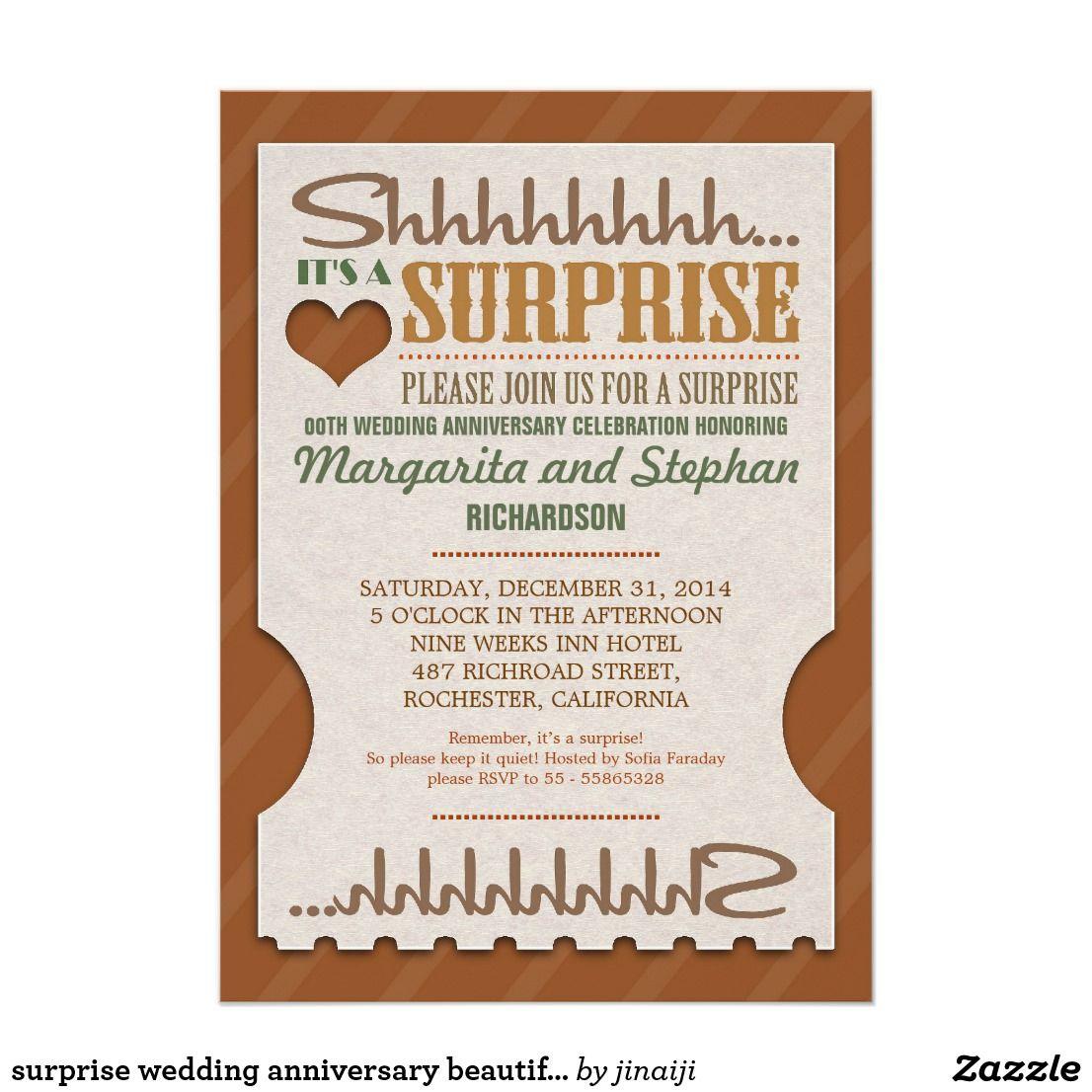 Surprise Wedding Anniversary Beautiful Invitations Vintage Wedding