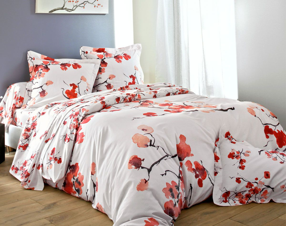 linge de lit fleurs japonaises jungle fleur pinterest fleurs japonaises linge de lit et linge. Black Bedroom Furniture Sets. Home Design Ideas