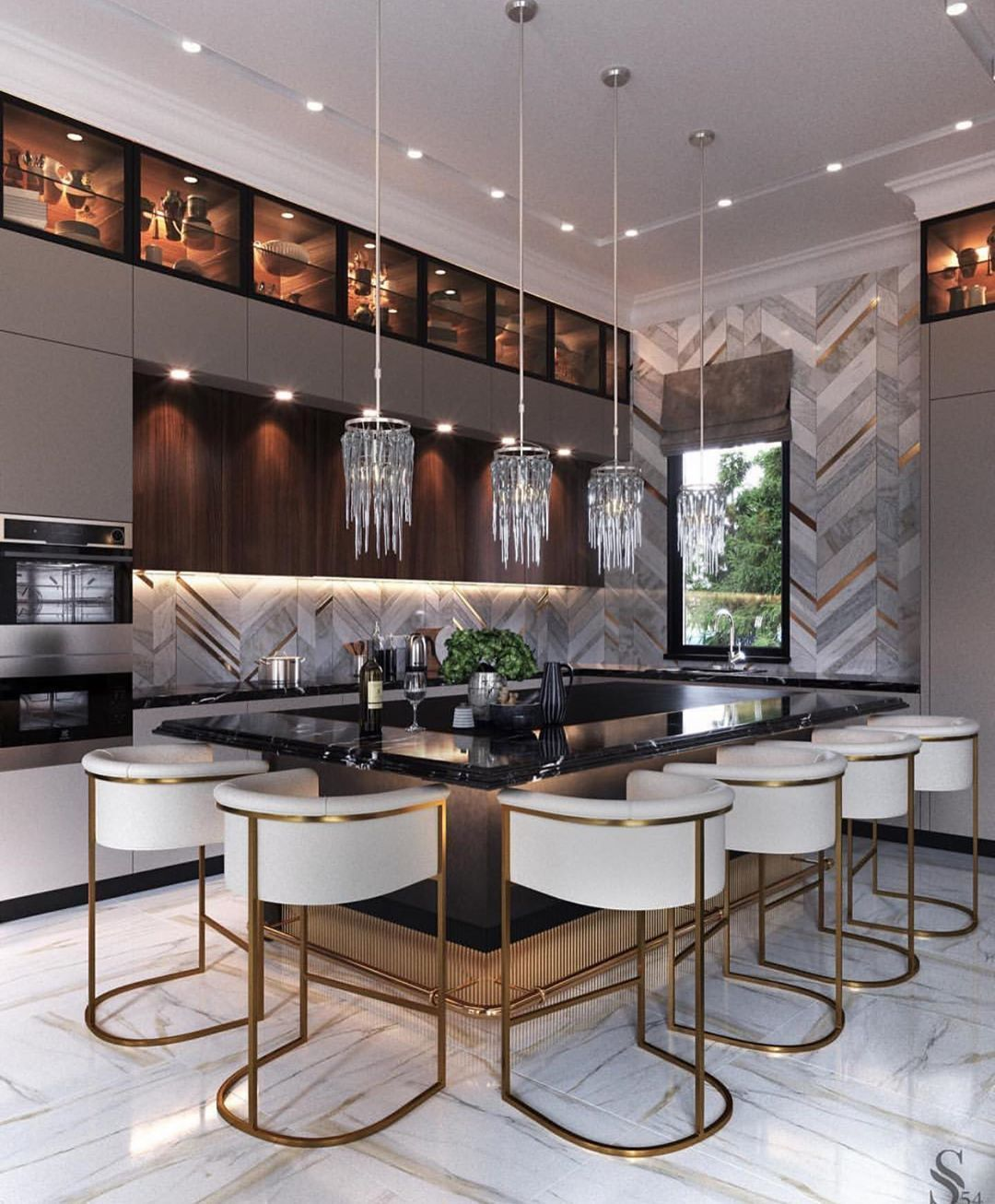 Glam Home Interior Design On Instagram I Ve Been Obsessed With Kitchens Lately Love All The Details Modern Kitchen Design Home Decor Kitchen Kitchen Design