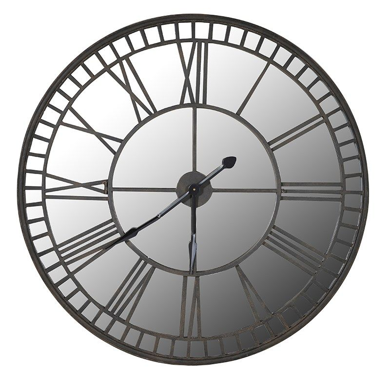 Industrial Large Antiqued Clock With Mirrored Face [EXI2912] : Beau Decor - Industrial Large Antiqued Clock With Mirrored Face [EXI2912