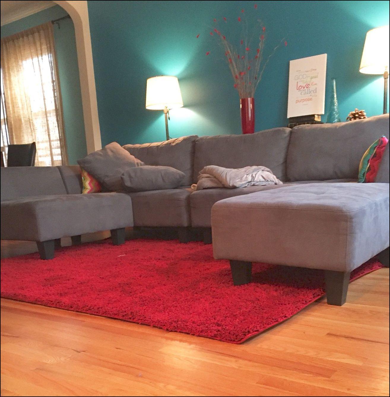 Grey Sofa Red Rug