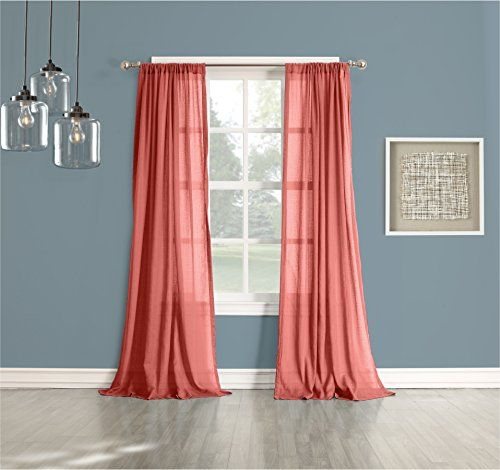 918 Cory Sheer Curtain Panel, 50 By Coral No.