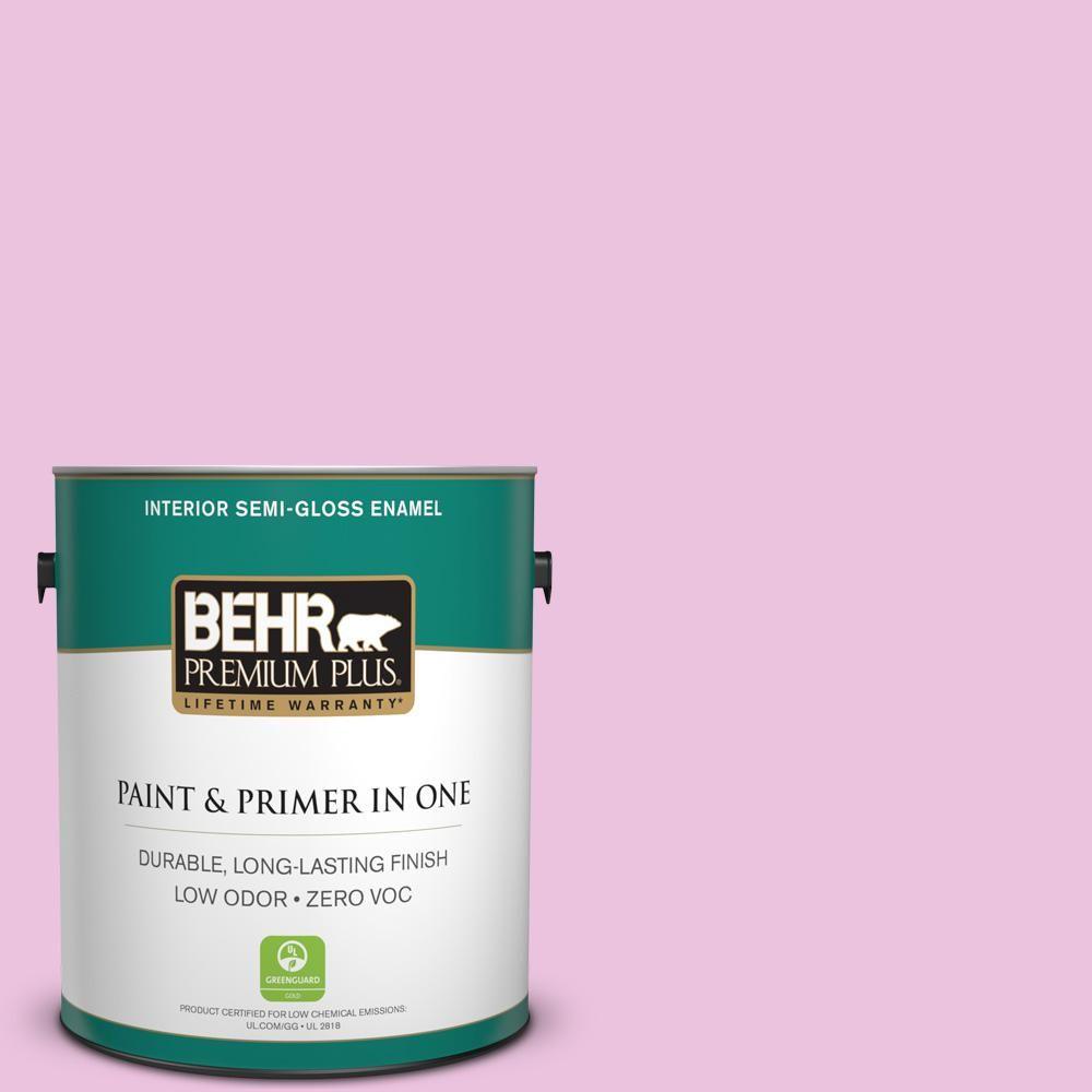 BEHR Premium Plus 1-gal. #680A-2 Sugar Sweet Zero VOC Semi-Gloss Enamel Interior Paint