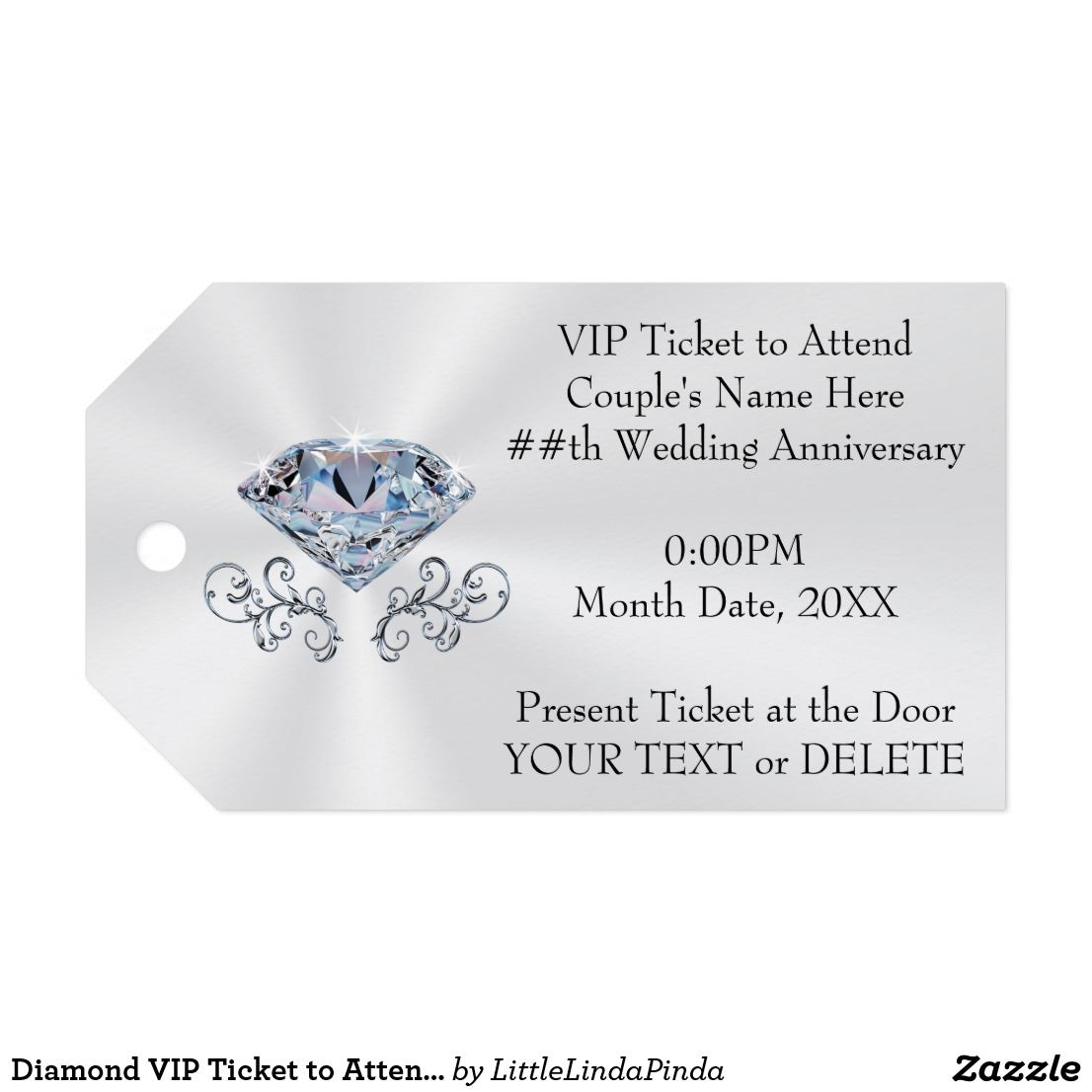 Diamond VIP Ticket to Attend Your Special Occasion Gift Tags ...
