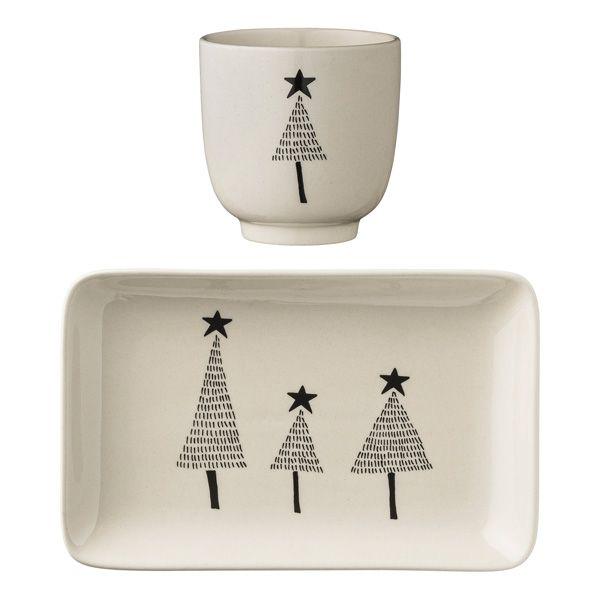 Bloomingville Geschirrset Tannenbäume Teller & Tasse #ceramicmugs