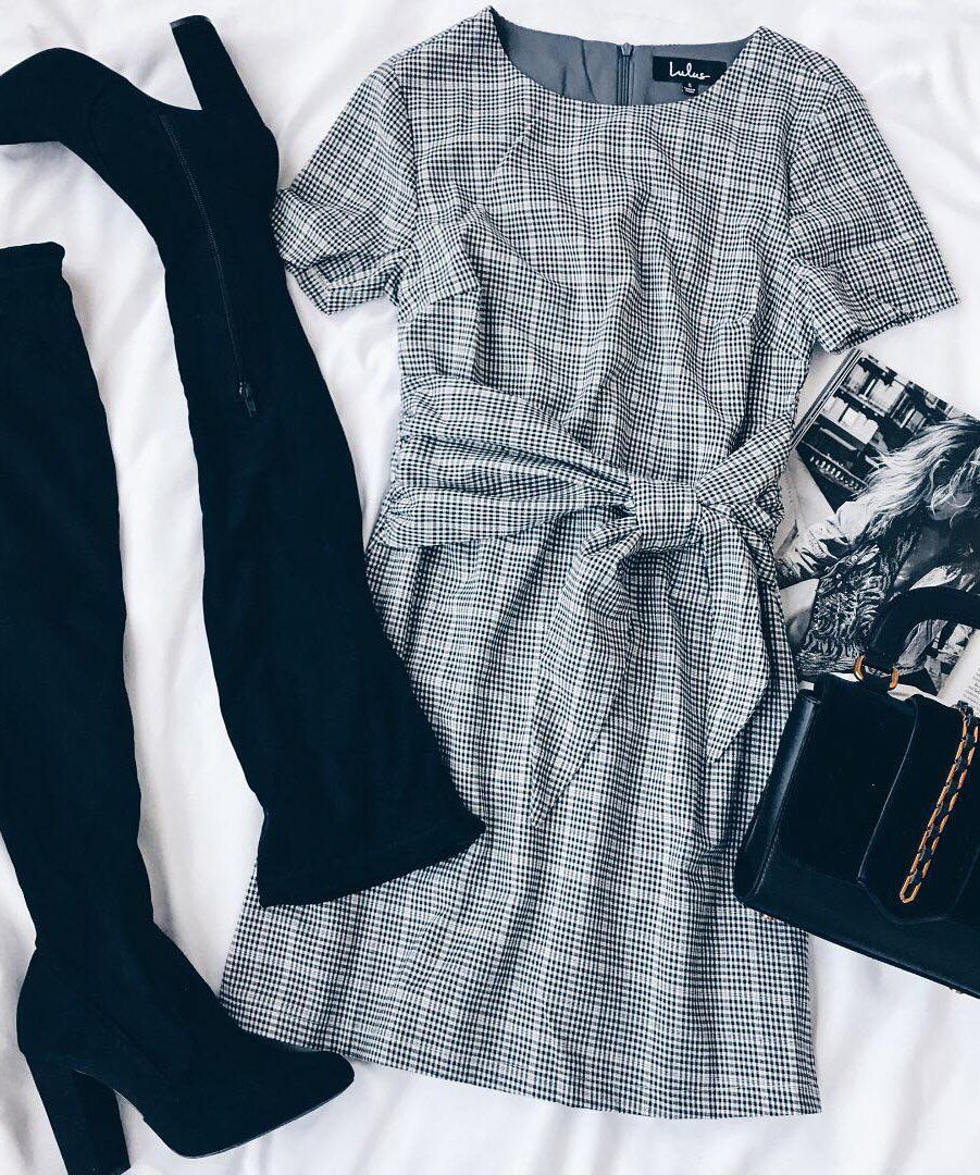 Penny Black And White Gingham Knotted Sheath Dress Fashion Outfits Fashion Clothes Women Fashion [ 1080 x 901 Pixel ]