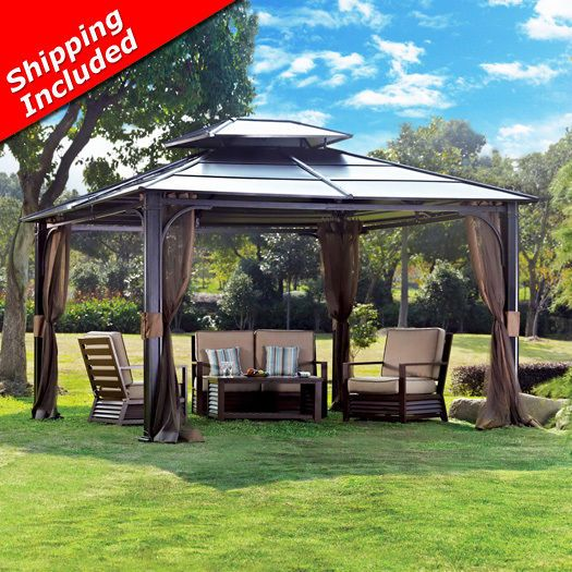 Hardtop Gazebo Sunjoy 10 X 12 Chatham Steel With Vented Roof Netting Ebay Hardtop Gazebo Backyard Gazebo Gazebo