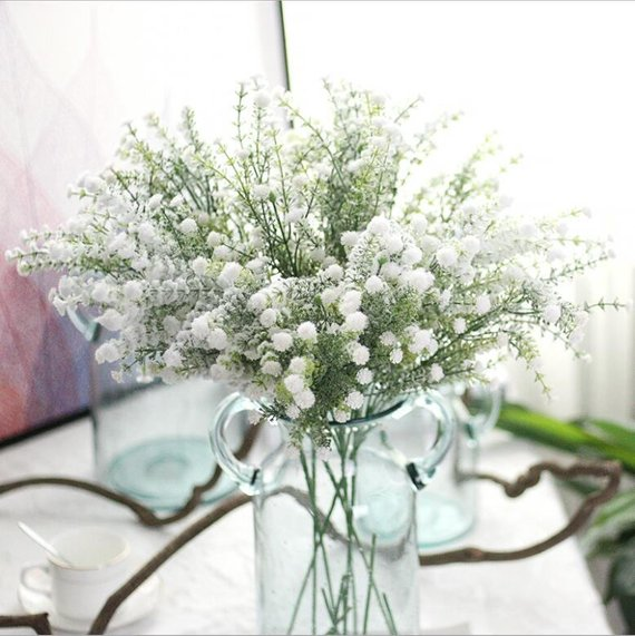 Artificial Flowers For Christmas Decoration White Babys Breath Etsy Wedding Table Flowers Wedding Party Bouquets Bouquet Home Decor
