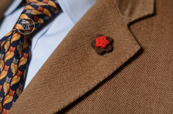 Wool felt lapel pin in brown and red by ASDFstyle on Etsy