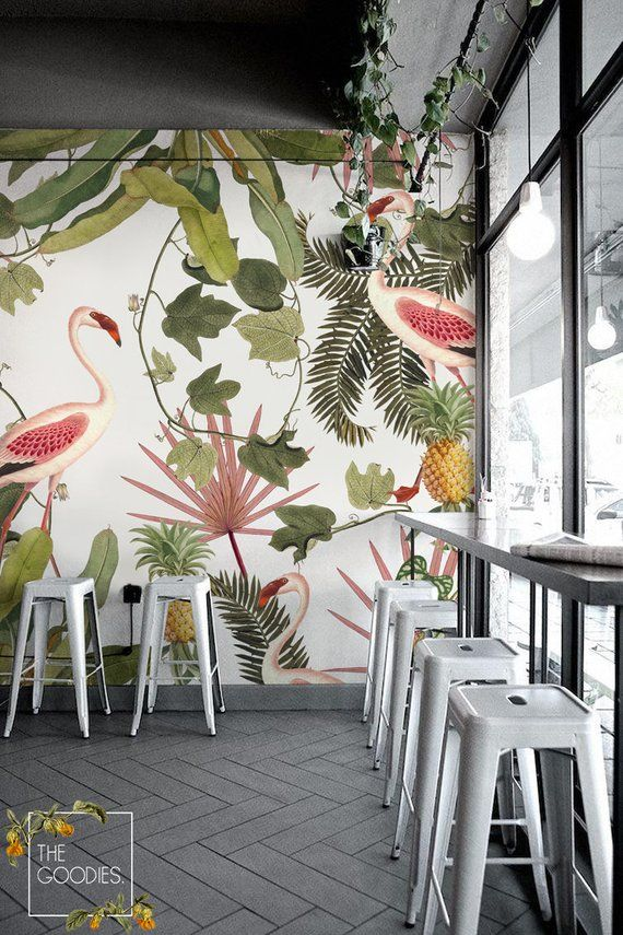 Flamingo wallmural, Flamingo removable wallpaper, Wall