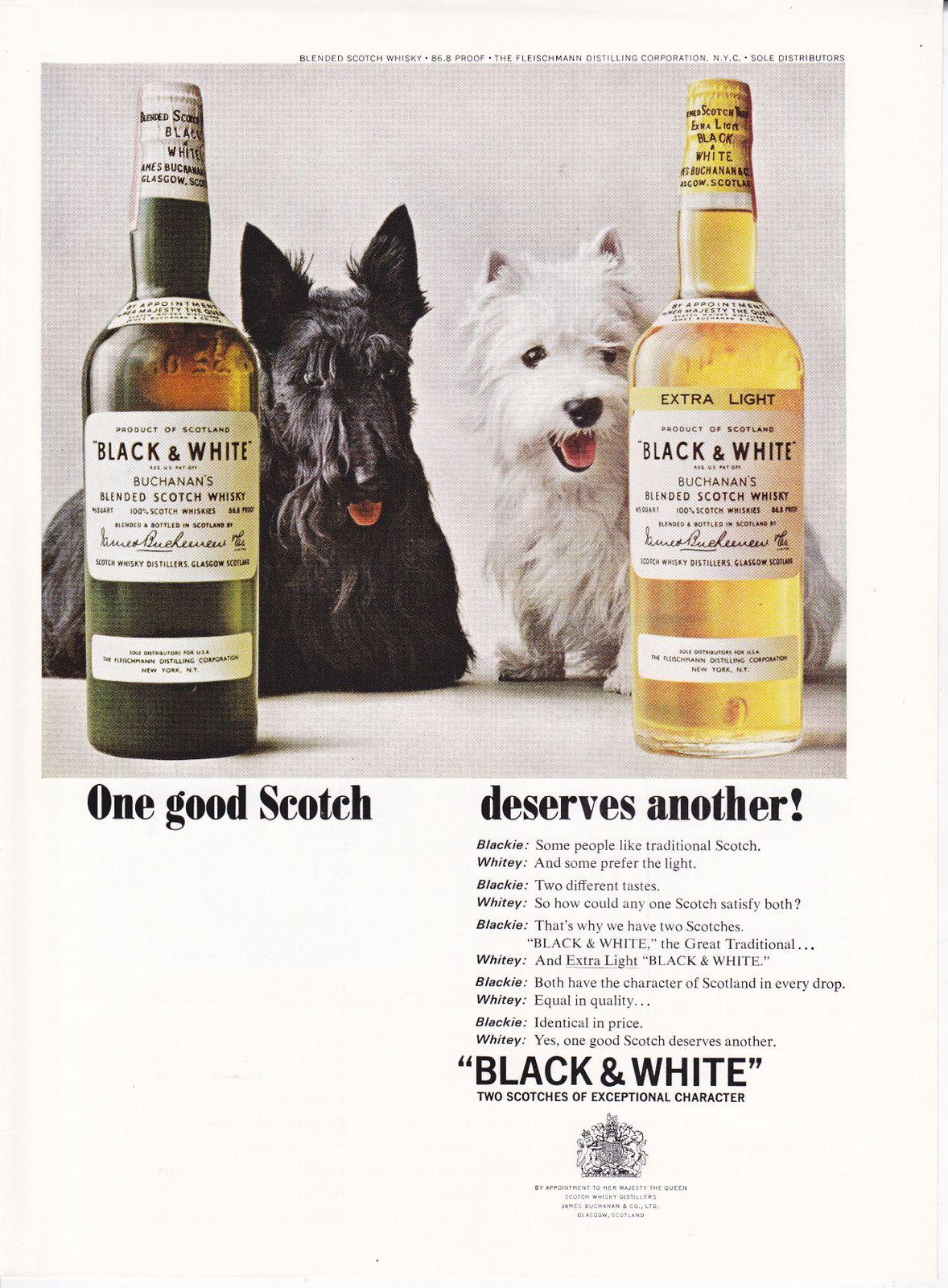 Black u white one good scotch scottie advertisements pinterest